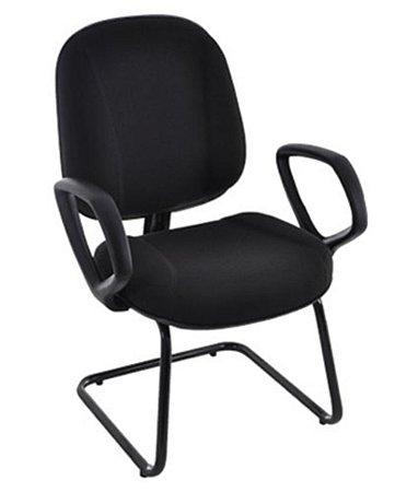 Cadeira Diretor com Braços Base Fixa em S  Linha Classic Preto