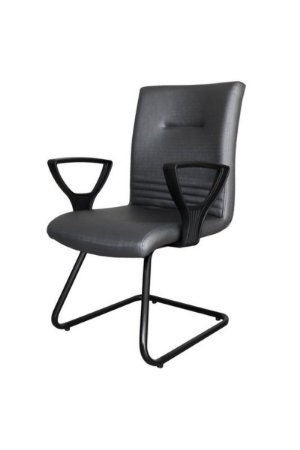 Cadeira Diretor Fixa em S  com Braços Linha Corinto Preto