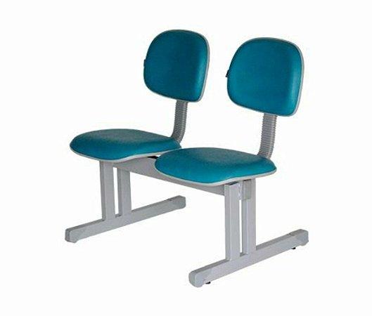 Cadeira Secretária em longarina com 2 lugares Linha Economy Azul