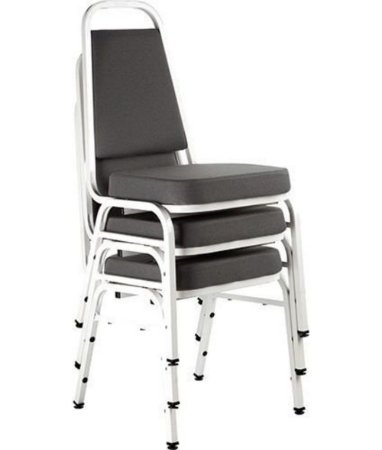 Kit com 3 Cadeiras Empilháveis Linha Hotel Plus Cor Cinza