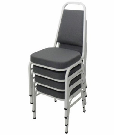 Kit com 4 Cadeiras Empilháveis Linha Hotel Plus Cinza