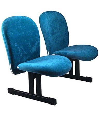 Cadeira Diretor em longarina com 2 lugares  Linha Lombar Azul