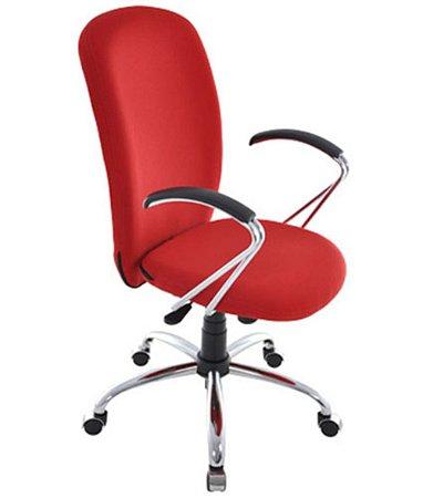 Cadeira Presidente com Braços e Base Cromada  Linha Lombar Vermelho