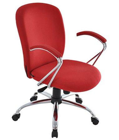 Cadeira Diretor com Braços e Base Cromados Linha Lombar Vermelho