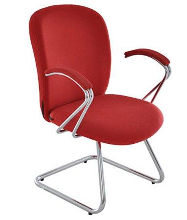 Cadeira Diretor c Braços e Base Fixa Cromados Linha Lombar Vermelho