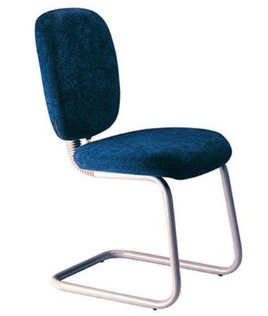 Cadeira Executiva com Braços e Base Fixa em S  Linha Lombar Azul