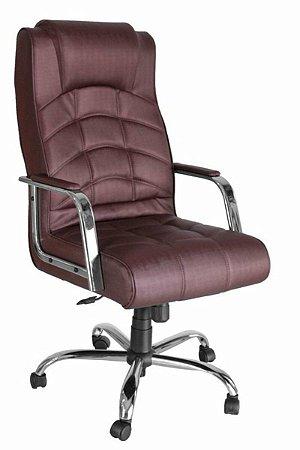 Cadeira Presidente  Base Cromada Linha Lyon Vermelho