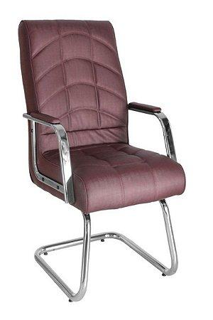 Cadeira Diretor  Base Fixa em S Cromada Linha Lyon Vermelho