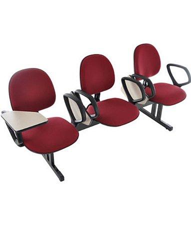 Cadeira Executiva em longarina com 3 lugares Linha Office Vermelho