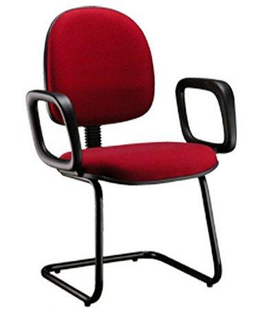 Cadeira Executiva Base Fixa em S  Linha Office Cor Vermelho