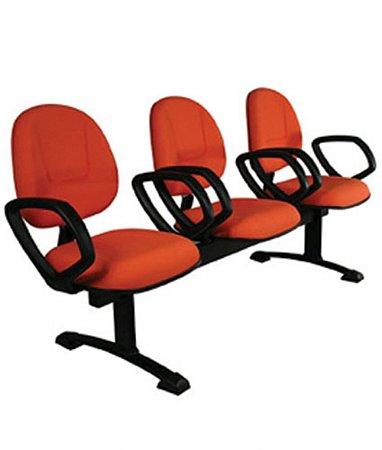 Cadeira Executiva longarina com 3 lugares Linha Office Plus Vermelho