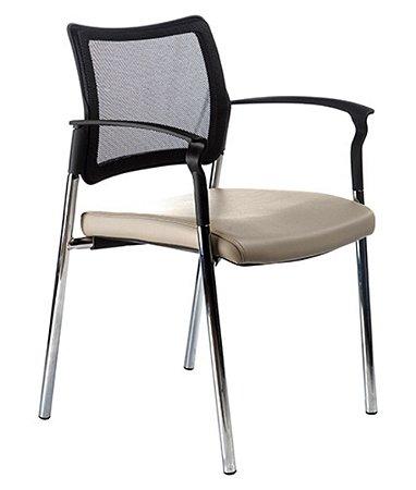 Cadeira fixa base cromada e tela mesh Linha Prisma Bege
