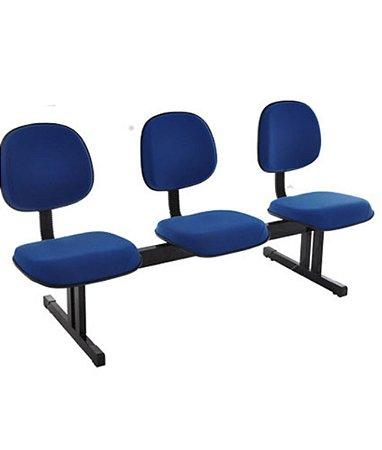 Cadeira Executiva em longarina com 3 lugares Linha Robust Azul