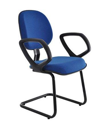 Cadeira Executiva Base Fixa em S com Braços Linha Robust Azul