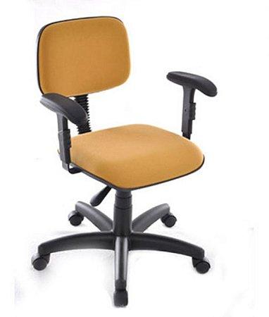 Cadeira Secretária Base Giratória com Braços Linha Square Amarelo
