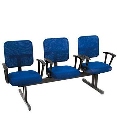 Cadeira Secretária em Longarina 3 lugares Linha Tela Mesh Azul