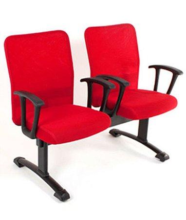 Cadeira Diretor em Longarina 2 lugares Linha Tela Mesh Vermelho