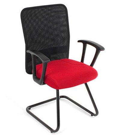 Cadeira Diretor Base Fixa  Linha Tela Mesh Vermelho