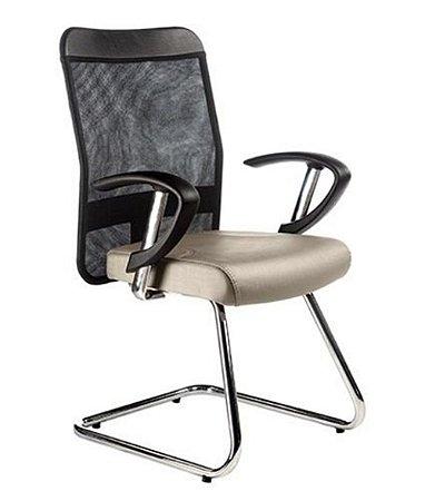 Cadeira Diretor Base Fixa Cromada Linha Tela Mesh Bege