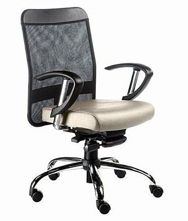 Cadeira Diretor com Braços Linha Tela Mesh Bege