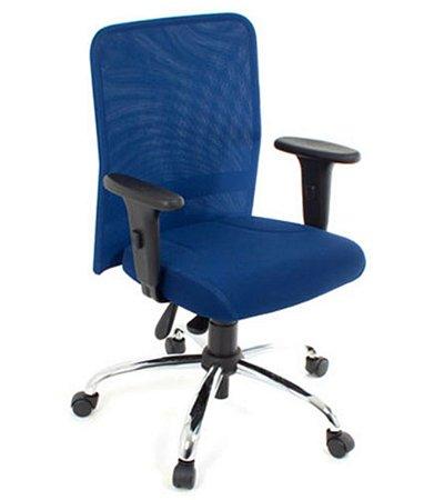 Cadeira Digitador  com Braços Linha Tela Mesh Azul