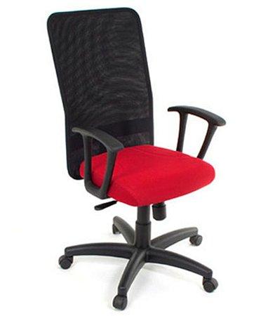 Cadeira Presidente com Braços Linha Tela Mesh Vermelho
