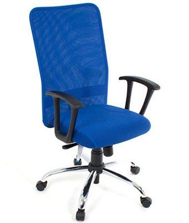Cadeira Presidente Base Cromada Linha Tela Mesh Azul