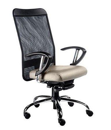 Cadeira Presidente Base Cromada Linha Tela Mesh Bege