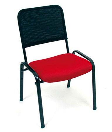 Cadeira Fixa Empilhável  Linha Tela Mesh Hotel Auditório Vermelho