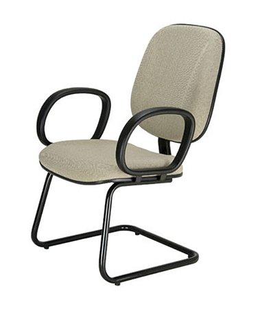 Cadeira Diretor com Braços Base Fixa em S  Linha Uno Bege
