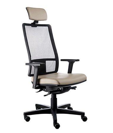 Cadeira Presidente com encosto Tela Mesh Linha Web Design Bege