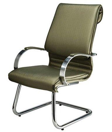 Cadeira Diretor Luxuosa com Braço Fixo Cromado Linha Chief Marrom