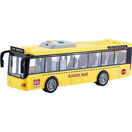 Ônibus escolar de fricção1:16 - com luz e som