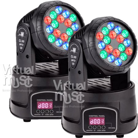 Moving Head Led Wash 18 Leds 3w Rgb Dmx