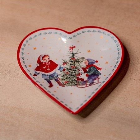 Petisqueira Natalina Coração em Cerâmica