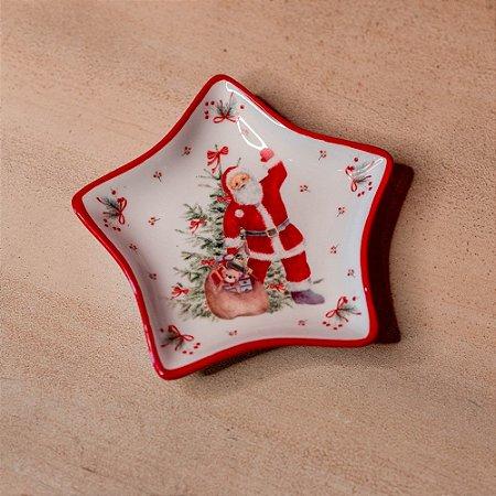 Petisqueira Natalina Estrela em Cerâmica
