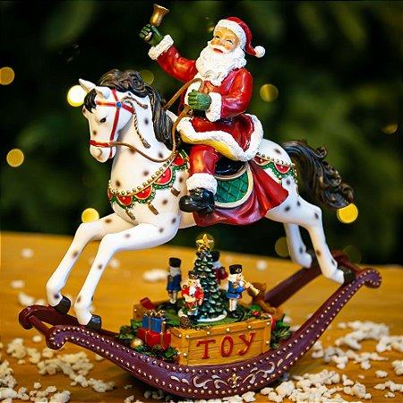 Caixa de Música a Pilha Papai Noel Resina