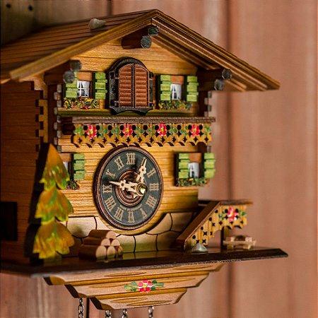 Relógio Cuco Chalé Flores Eletrônico