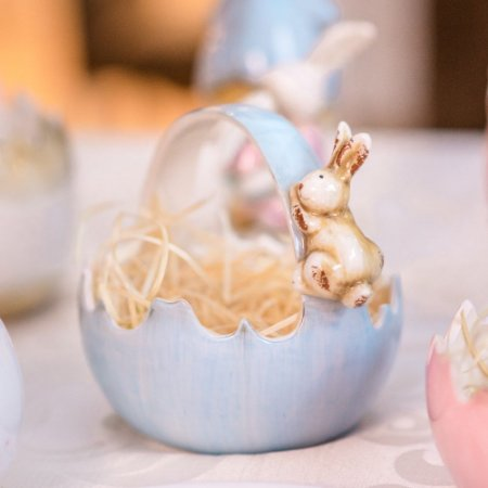 Cesto Casca de Ovo Azul Cerâmica Home