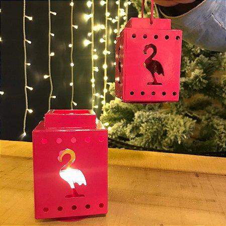Lanterna Porta-Velas Flamingos Metal