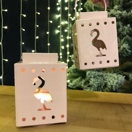 Lanterna Porta-Velas Flamingos Rosa Bebê