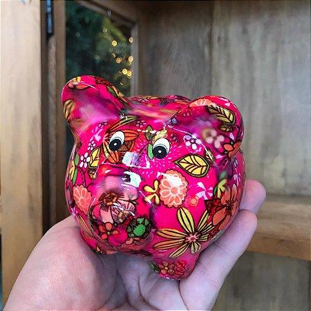 Cofrinho PIG Flowers Cerâmica