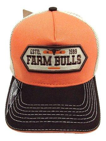 Boné De Cowboy Laranja Original Bulls Farm 1989 Confira!