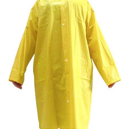 Capa De Chuva Amarela Sintética Forrada Com Capuz