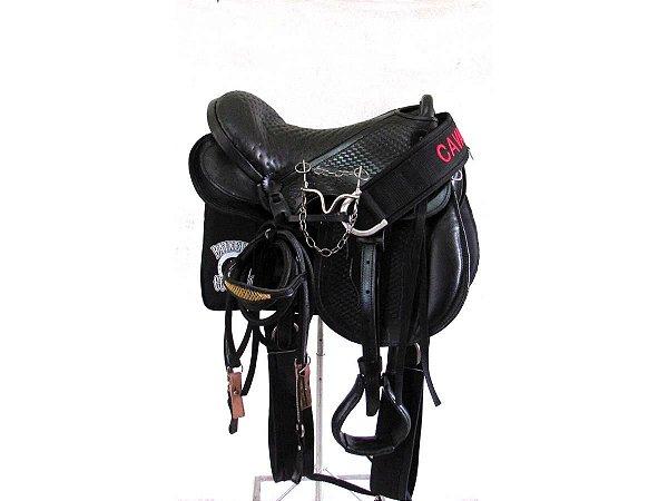 Sela Australiana Preta Cavalgada Completa IENE 16 Polegadas + Acessórios