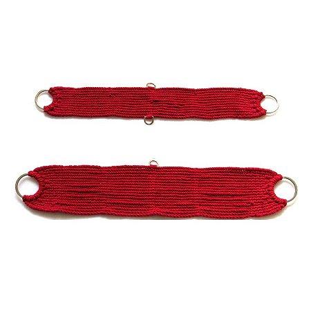 Conjunto de Barrigueira e Cilha de Lã Vermelha