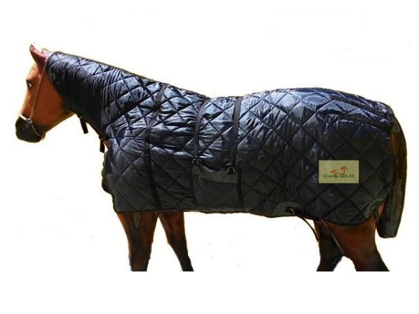 Capa de Inverno para Cavalo Preta com Pescoceira