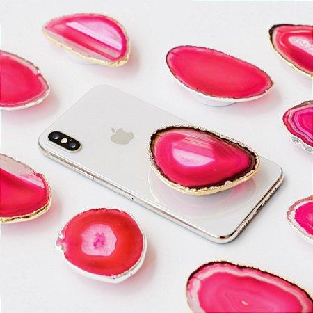 Pop Socket Ágata cor rosa acabamento dourado| Phone Grip