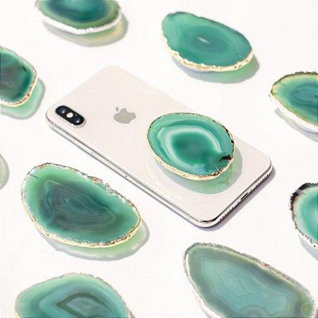 Pop Socket Ágata cor verde acabamento dourado| Phone Grip