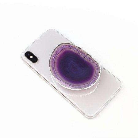 Pop Socket Ágata cor roxa acabamento prata| Phone Grip